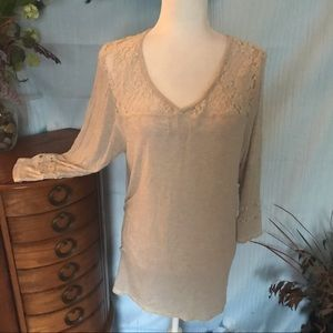 Vanity lace trimmed pullover top size XL